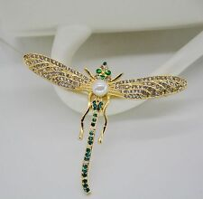 Broche Doré Libellule Insect Fin Vert Emeraude Ancien Style Class Retro XZ3