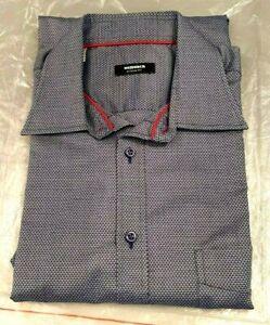 Herren-Oberhemd WALBUSCH Gr. 42 bläulich-weiß-gemustert Kentkragen