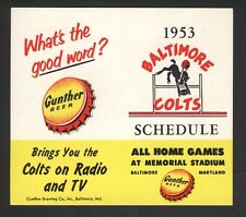 1953 Baltimore Colts Football Schedule FIRST YEAR NFL Gunther Beer Unfolded
