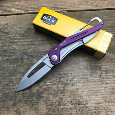 Buck Knives Apex 420HC Plain Edge Purple Handle Folding Framelock Knife 818PPS