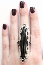 NEW LOW LUV x ERIN WASSON Long Wood Ring BLACK Antiqued Silver Statement Long 7