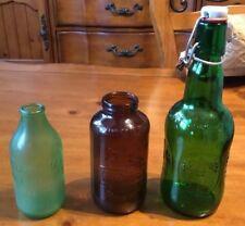 Rheingold Brown, Rolling rock Green, & Grolsch Green Beer Bottles Vintage Rare