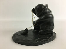 BOMA Canadian Inuit Fisherman Soapstone/Resin? Decorative Ornament Figurine