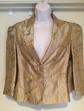 Vanessa Riley London Gold Embelished Blazer Jacket  *L@@K* Size 6 Couture EUC