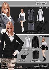 CC142 1/6 Clothing- DOLLSFIGURE Black Secretary Suit Full Set for Female Body