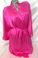 VICTORIAS SECRET SATIN LACE ROBE WOMENS BATHROBE KIMONO SPA PINK S / M~NWT