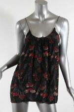 TUCKER Womens Black Watercolor Floral Print Sleeveless Spaghetti Strap Blouse M