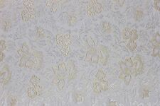 5 1/2 YDS BEIGE & CREAM BROCATELLE FABRIC Upholstery French Victorian Floral