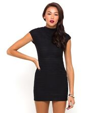Motel Brook Cap Sleeve Bodycon Dress in Black Stripe RRP £40 Small Box12 35 u