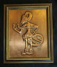 Vintage Javanese Ghatotkacha in War Attire Copper Tooling Framed c.1940-50