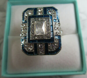Lovely Art Deco Silvertone & Blue Ring Blue & Clear Crystal Approx. Size N