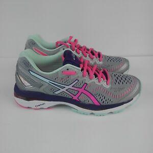 ASICS Gel Kayano 23 Running Shoes Silver Pink Purple Women's Size 6 (2A)