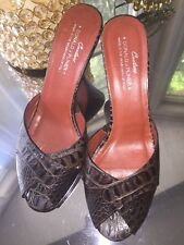 Donald J Pliner Couture Brown Wedge Leather Croc Slide Sandal Open Toe 8 M MINT!