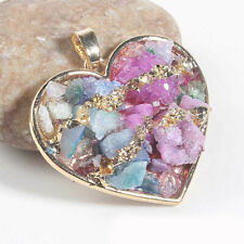 Love Heart Natural Druzy Rock Quartz Durzy Agate Gems Yellow Gold Plated Pendant