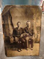 "Vintage Antique Tin Type Photograph 2 men posing for picture 2 1/2"" x 3 1/2"""