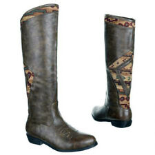Womens Knee high boots Aztec Flat Heel Taupe Faux Leather Ankle Zip Ladies Sizes