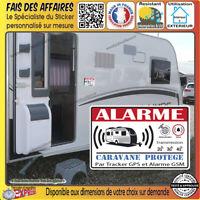 lot de 2 Stickers autocollant Alarme Caravane gsm gps sirène sécurité antivol