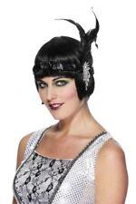 Flapper Headband Charleston Feather Headpiece 1920s Fancy Dress Womens Black