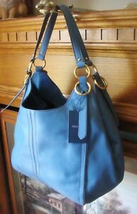 NWT ~ COLE HAAN JULIANNE ~ DENIM BLUE SMOOTH LEATHER LARGE HOBO TOTE BAG ~ $398