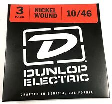Dunlop Guitar Strings - 3 Pack - Electric - 10-46 - Nickel Plated Steel - Medium