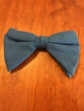 Bow Tie Vintage style 70`s Extra Large Bowtie Oversized Clip on Blue Linen