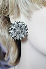 """A.P."" ITALY 925 LARGE FLOWER CLIP ON EARRINGS 1 7/16"""