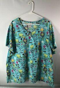 ScrubStar women's size 3X aqua nurse's scrub frog theme short sleeves pockets