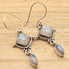 Silver Plated Over Solid Copper ! Natural RAINBOW MOONSTONE 2 Gems ART Earrings