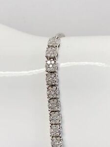 Natural Diamond Bracelet 1 tcw Illusion 3.5 tcw  925 Sterling Silver Bolo $399