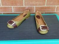Dark Brown & Olive Green Leather FOSSIL Flats w/Strap & Big Metal Buckle Sz 7.5