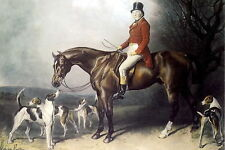 Equestrian Print c19th Victorian Hunter Top Hat Fox Hunting Horse Hound Dog