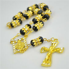 Black Poly Bead Gold Religious Christian Bracelet Rosary With Metal Cross