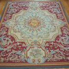"""EXCELLENT AUBUSSON FRENCH DESIGN HAND WOVEN WOOL ORIENTAL RUG CLEANED 8'5"""" x 12'"""