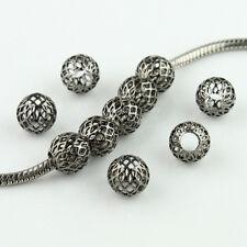 20pcs Silver Gold Mesh Net Round Ball Big Hole Spacer European Charm Beads 10mm