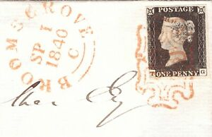 1d Black Plate (3) Local Cover - Broomsgrove - Pale Orange Red M/C & Town Cancel