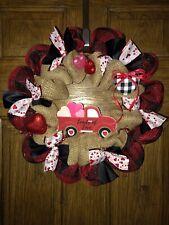 "Handmade Wreath Farmhouse Truck Burlap Deco Mesh 20"" New"