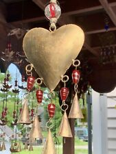 Brass Heart Wind Chime Sun Catcher Mobile With Red Blown Glass Beads & Bells
