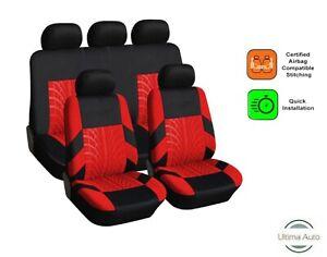 9 PCS FULL RED-BLACK  FABRIC CAR SEAT COVERS SET FOR NISSAN QASHQAI 2010+