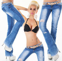 Women's hipster Boot cut jeans Destroyed Look Ripped Pants + Belt UK 6-14 HOT