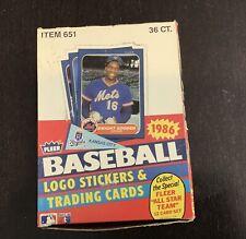 1986 FLEER Baseball Wax Box 36 Sealed Packs. Full Box.