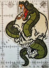 "Snake in Skull Biker Patch~4 1/4"" x 2 7/8""~Embroidered~Iron or Sew~FREE US Mail"