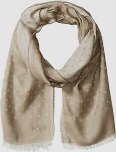 NEW $165 Hickey Freeman Men's Beige Dot Fringe Linen Silk Casual Scarf One Size