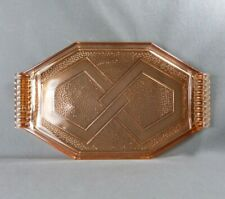 French Antique Art Deco Pink Glass Dish Geometric Pattern ca 1930 Made in France