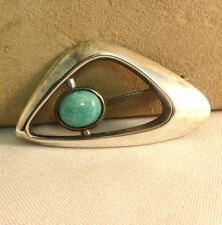 David Andersen Sterling & Turquoise Modern Design Brooch/Pin