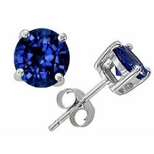2.00 CT 6mm 14K SOLID WHITE GOLD BLUE SAPPHIRE ROUND SHAPE STUD EARRINGS PUSH