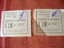 1922 2 BIGLIETTI SERVIZIO AUTOMOBILISTICO LORETO STAZIONE FERROVIARIA ANCONA