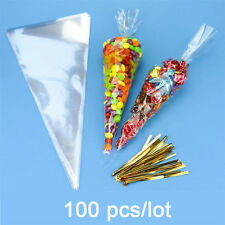 100 Pcs/lot DIY Wedding Birthday Party Sweet Cellophane Clear Candy Cone Bags