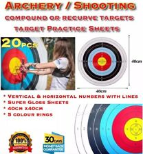 x20 Sheets Archery Shooting Targets Compound Or Recurve 40x40cm