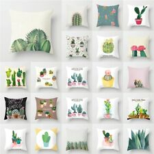 18'' Tropical Plants&Cactus Sofa Pillow Case Polyester Cushion Cover Home Decor