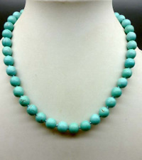 """New natural round blue turquoise bead 12mm necklace 18"""""""